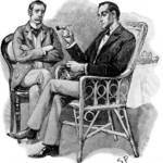 شرلوک هولمز و دکتر واتسون در یک نگاره ی اولیه از سیدنی پجت